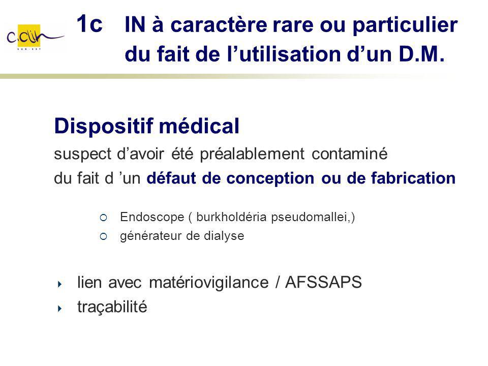 1c IN à caractère rare ou particulier du fait de lutilisation dun D.M. Dispositif médical suspect davoir été préalablement contaminé du fait d un défa