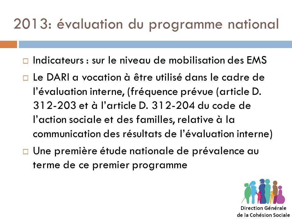 2013: évaluation du programme national Indicateurs : sur le niveau de mobilisation des EMS Le DARI a vocation à être utilisé dans le cadre de lévaluat