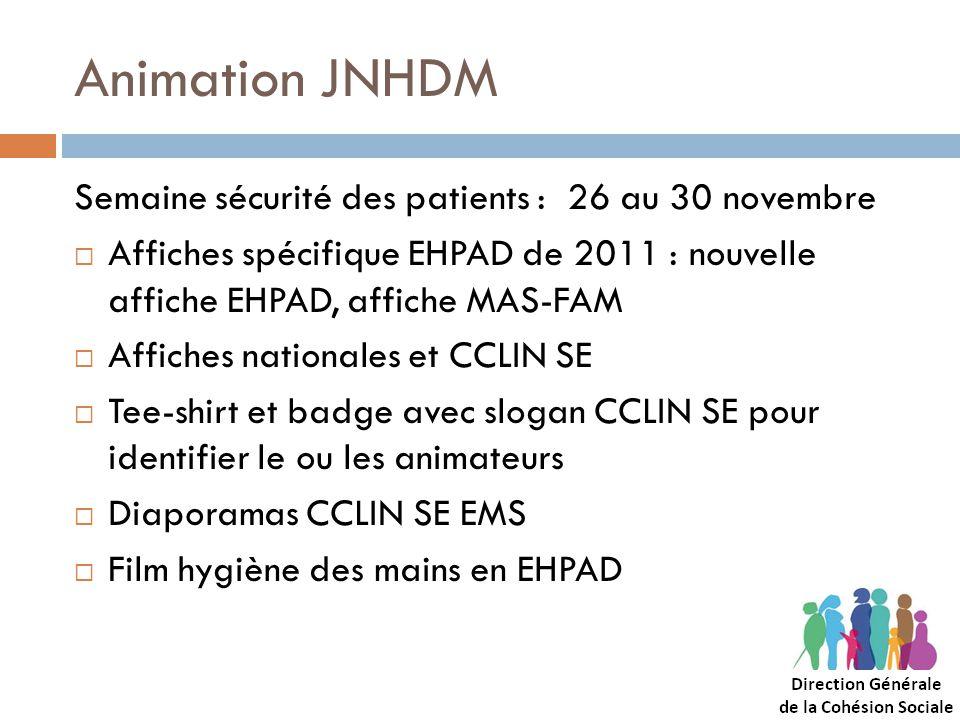 Animation JNHDM Semaine sécurité des patients : 26 au 30 novembre Affiches spécifique EHPAD de 2011 : nouvelle affiche EHPAD, affiche MAS-FAM Affiches