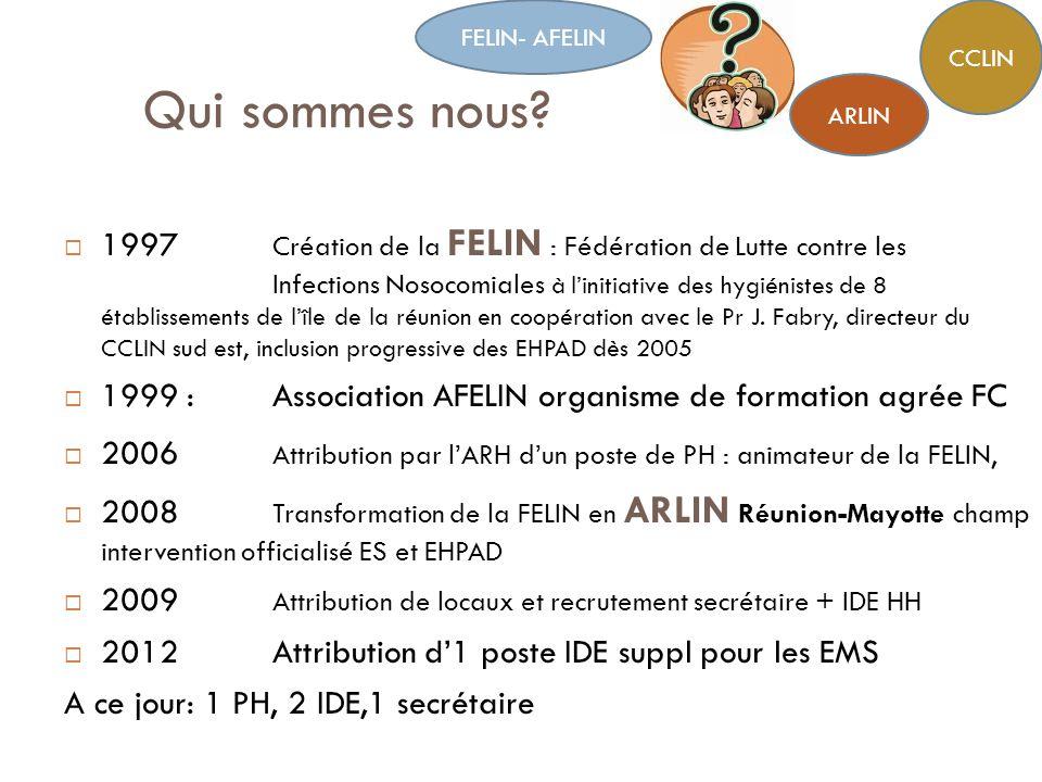Qui sommes nous? 1997 Création de la FELIN : Fédération de Lutte contre les Infections Nosocomiales à linitiative des hygiénistes de 8 établissements