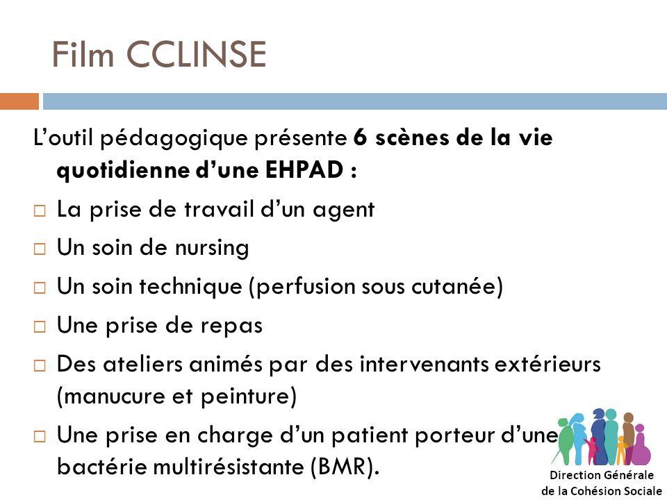 Film CCLINSE Loutil pédagogique présente 6 scènes de la vie quotidienne dune EHPAD : La prise de travail dun agent Un soin de nursing Un soin techniqu