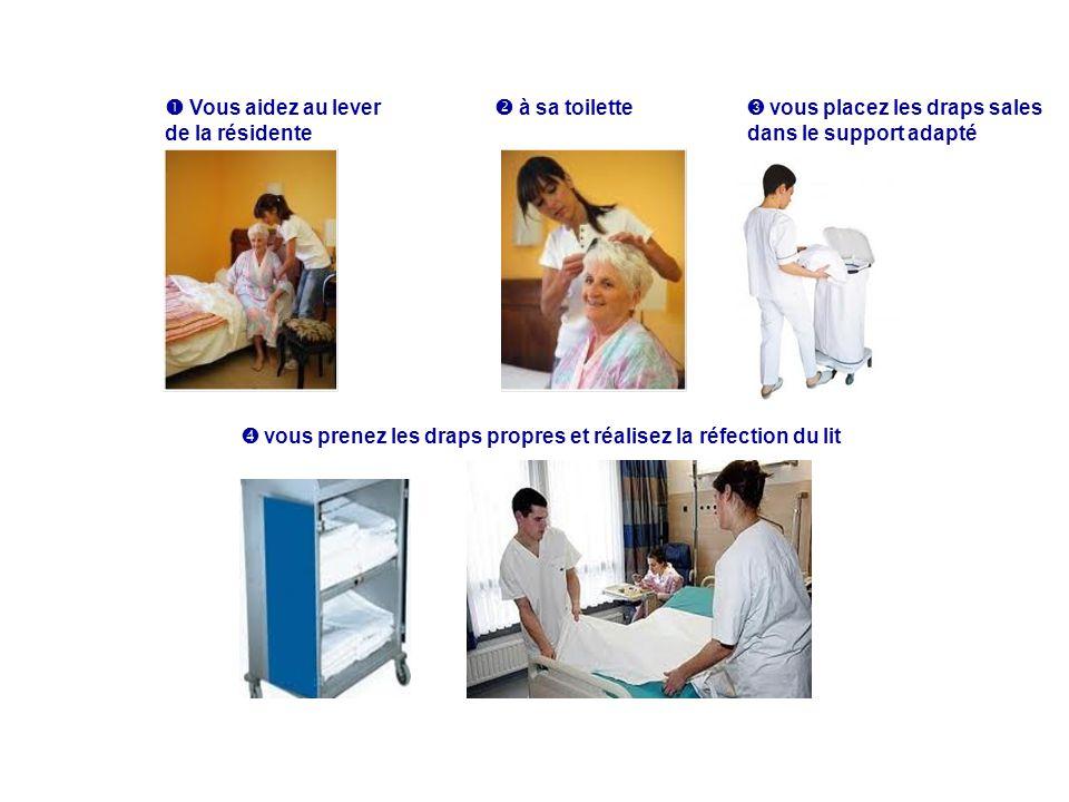 Vous aidez au lever de la résidente à sa toilette vous placez les draps sales dans le support adapté vous prenez les draps propres et réalisez la réfe