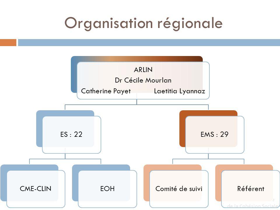 Organisation régionale ARLIN Dr Cécile Mourlan Catherine Payet Laetitia Lyannaz ES : 22CME-CLINEOHEMS : 29Comité de suiviRéférent