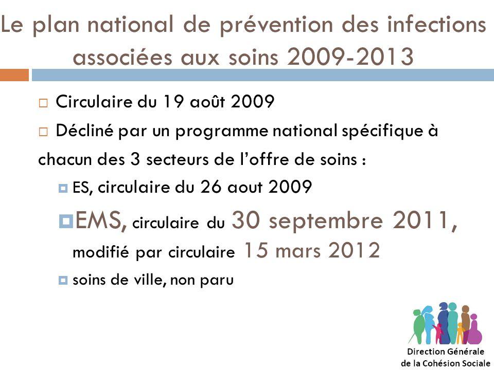 Le plan national de prévention des infections associées aux soins 2009-2013 Circulaire du 19 août 2009 Décliné par un programme national spécifique à