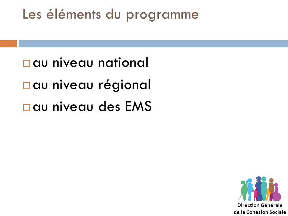 Les éléments du programme au niveau national au niveau régional au niveau des EMS