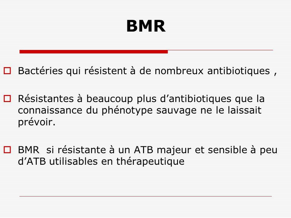 Le problème des BMR Définition : Pas de définition consensuelle. Bactérie est beaucoup moins sensible aux antibiotiques que ne le laisserait supposer