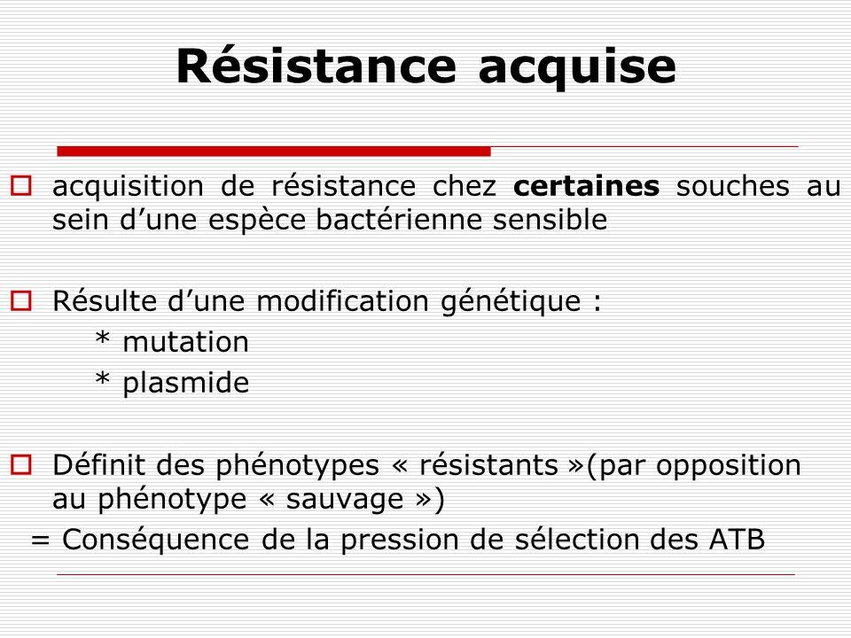 Résistance naturelle Caractéristique propre à une espèce bactérienne Résistance de TOUTES les souches de cette espèce Définit le phénotype sauvage de lespèce Définit le spectre dactivité des ATB