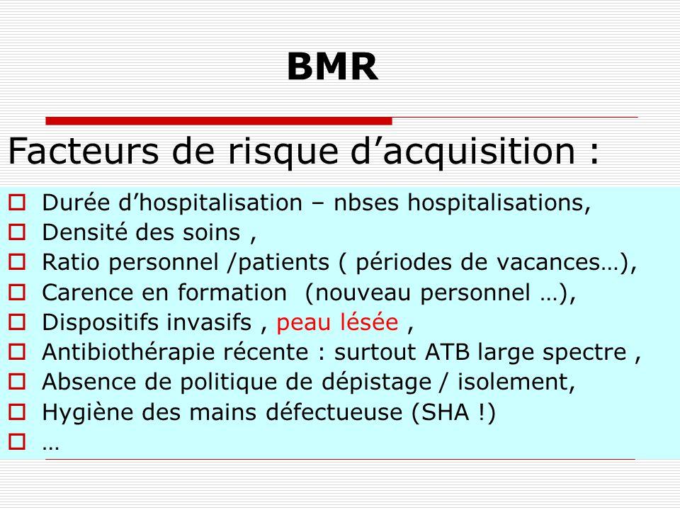 BMR Exemples Staphylocoques : SARM, staphylocoque aureus résistant à la méticilline, le plus connu! Entérobactéries résistantes aux C3G (BLSE,CASE ) E