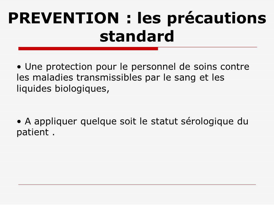 PREVENTION du risque infectieux HYGIÈNE DE BASE PRÉCAUTIONS STANDARDS Précautions particulières