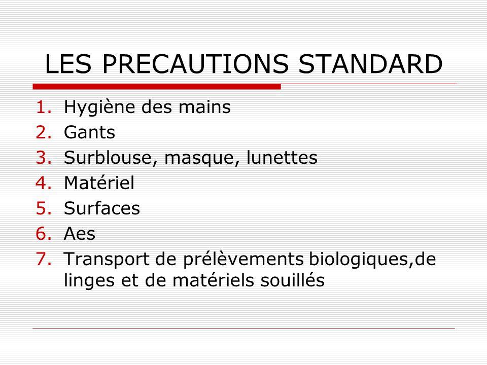 PREVENTION : les précautions standard Une protection pour le personnel de soins contre les maladies transmissibles par le sang et les liquides biologi