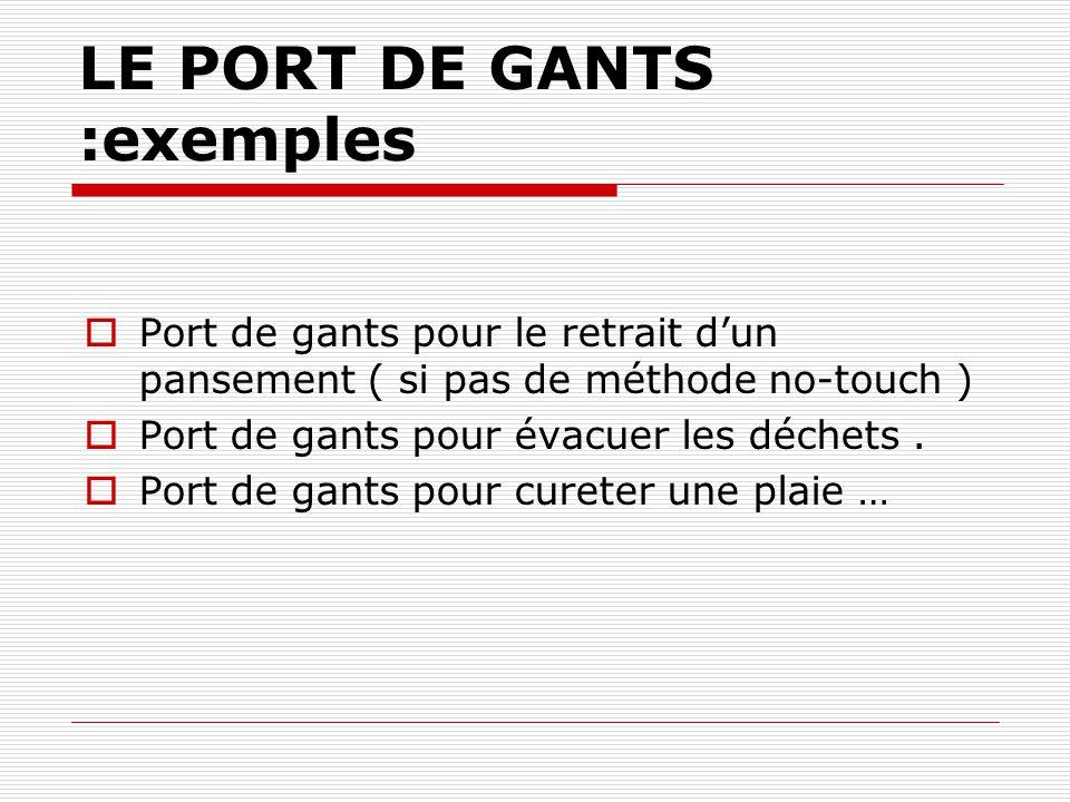 2-LE PORT DE GANTS Pour se protéger, le gant retenant une partie de linoculum.
