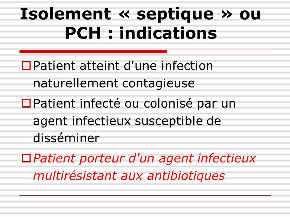 Terminologie actuelle Précautions complémentaires dhygiène : PCH Précautions qui viennent en complément des précautions standard. Moins péjoratif pour