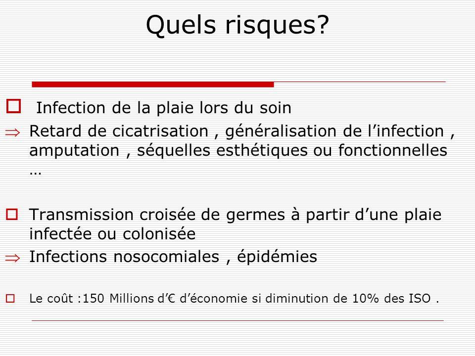 4.97% de patients infectés ( 17820 patients infectés sur 358467patients présents) Infections peaux et tissus mous : 10.2% national 5.3% régional Infections sur le site opératoire ( dont infection de la partie superficielle ou profonde de lincision) 14.2% national 13.8% régional * Enquête Nationale de Prévalence – juin 2006* EPIDEMIOLOGIE