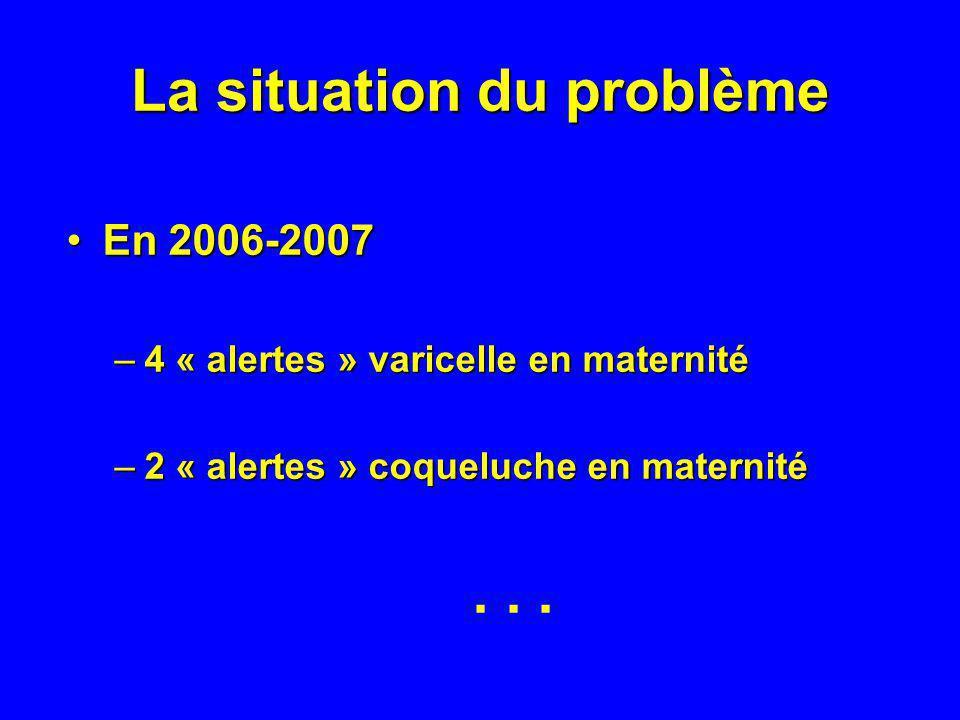 La situation du problème En 2006-2007En 2006-2007 –4 « alertes » varicelle en maternité –2 « alertes » coqueluche en maternité...