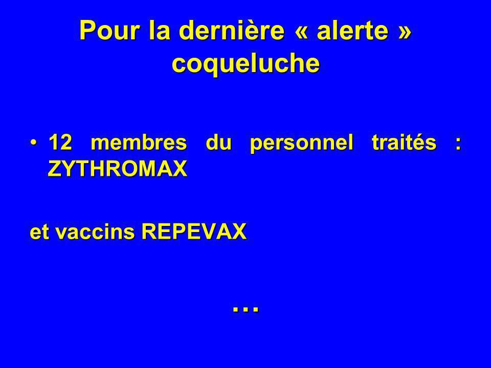 Pour la dernière « alerte » coqueluche 12 membres du personnel traités : ZYTHROMAX12 membres du personnel traités : ZYTHROMAX et vaccins REPEVAX …