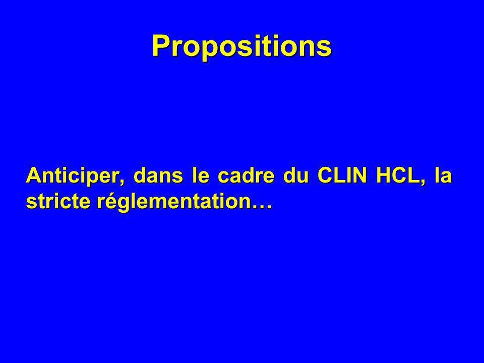 Propositions Anticiper, dans le cadre du CLIN HCL, la stricte réglementation…