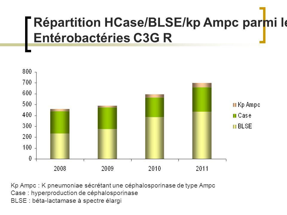 Répartition HCase/BLSE/kp Ampc parmi les Entérobactéries C3G R Kp Ampc : K pneumoniae sécrétant une céphalosporinase de type Ampc Case : hyperproduction de céphalosporinase BLSE : béta-lactamase à spectre élargi