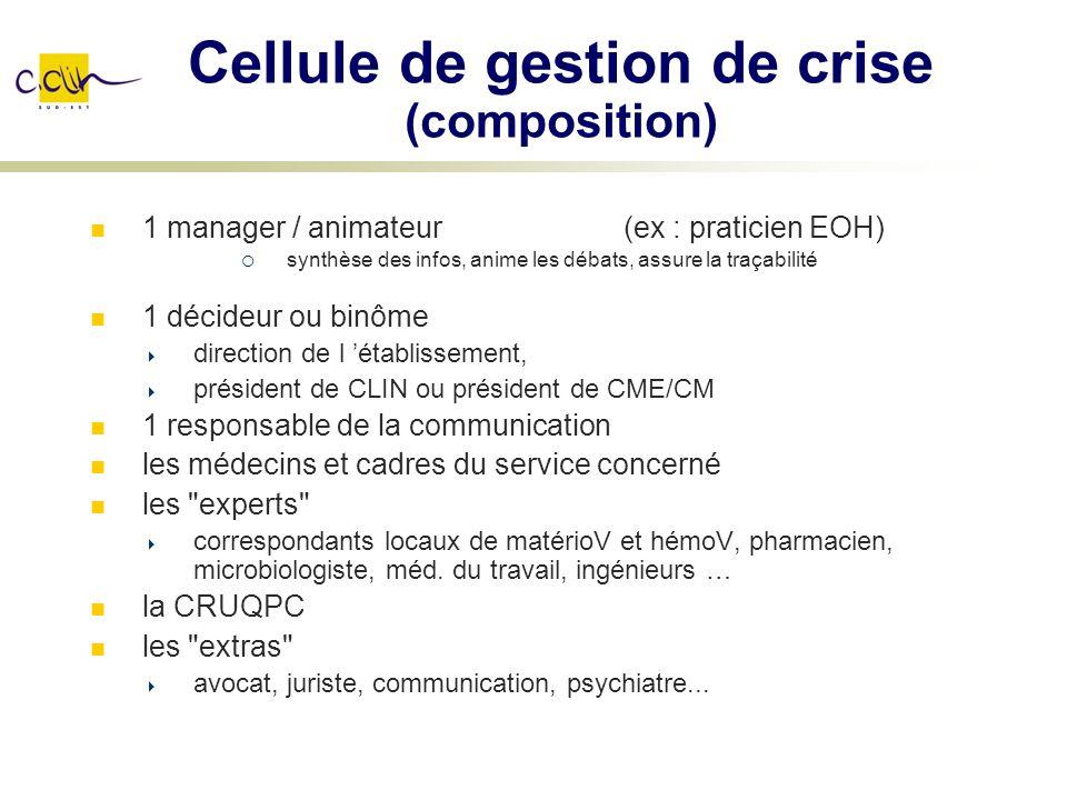 Cellule de gestion de crise (composition) 1 manager / animateur(ex : praticien EOH) synthèse des infos, anime les débats, assure la traçabilité 1 déci