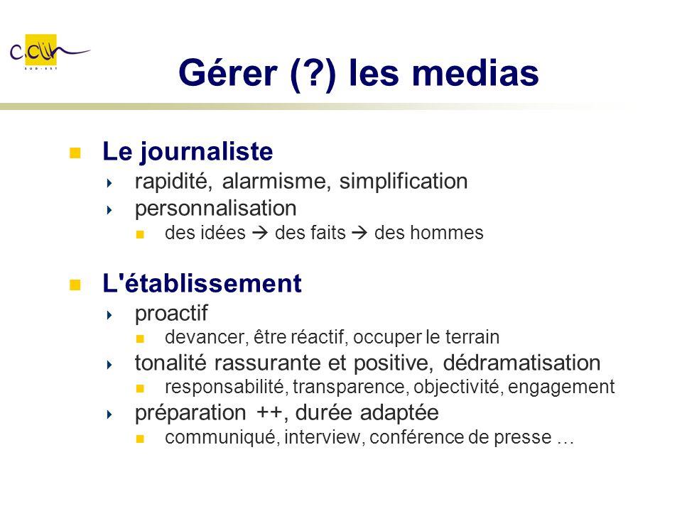 Gérer (?) les medias Le journaliste rapidité, alarmisme, simplification personnalisation des idées des faits des hommes L'établissement proactif devan