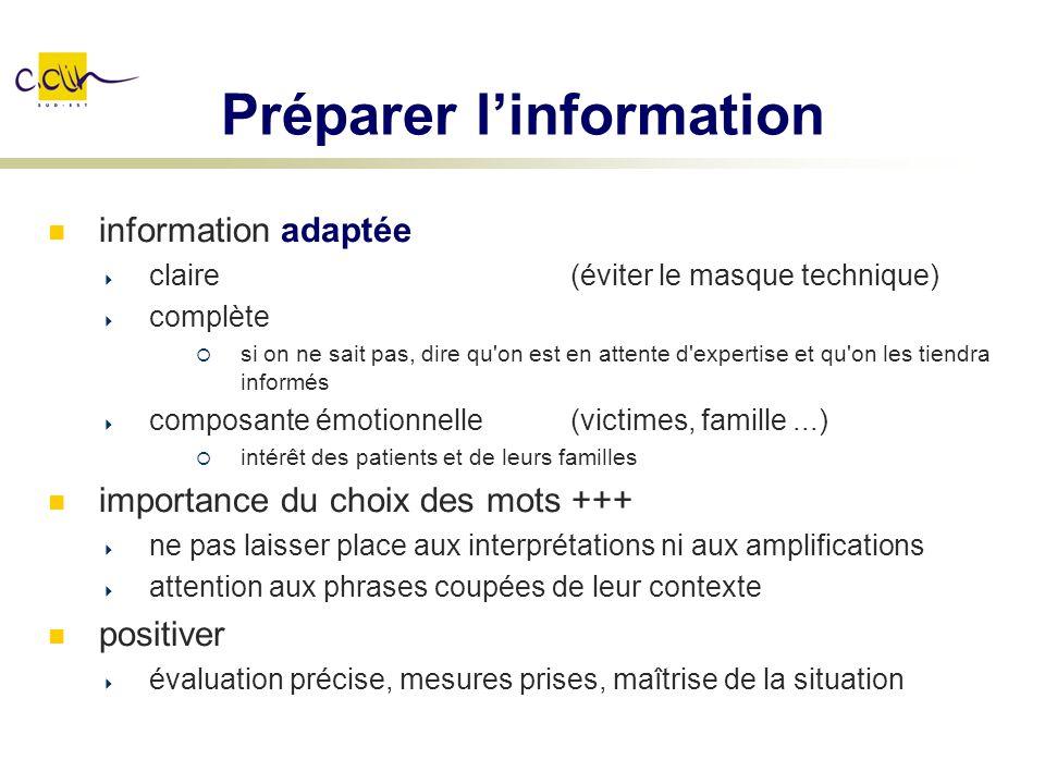 Préparer linformation information adaptée claire (éviter le masque technique) complète si on ne sait pas, dire qu'on est en attente d'expertise et qu'