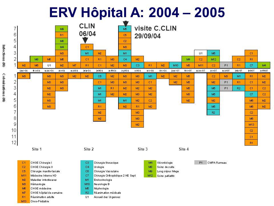 ERV Hôpital A: 2004 – 2005 Site 1Site 2Site 3Site 4 visite C.CLIN 29/09/04 CLIN 06/04