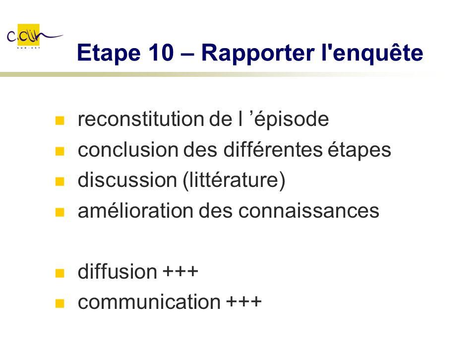 Etape 10 – Rapporter l'enquête reconstitution de l épisode conclusion des différentes étapes discussion (littérature) amélioration des connaissances d