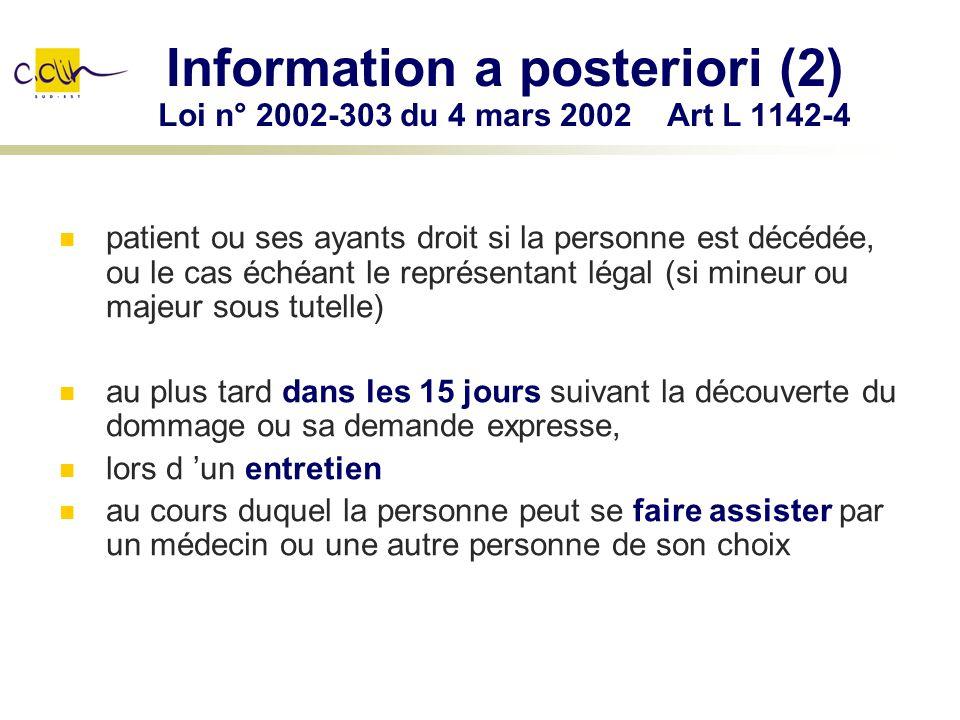 Information a posteriori (2) Loi n° 2002-303 du 4 mars 2002 Art L 1142-4 patient ou ses ayants droit si la personne est décédée, ou le cas échéant le