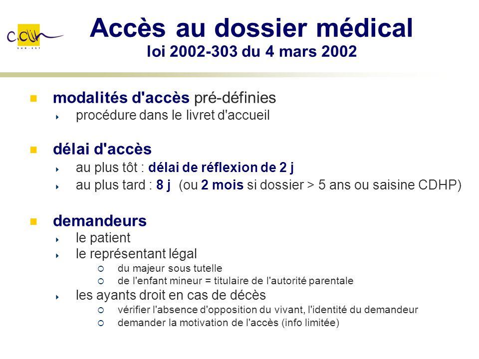 Accès au dossier médical loi 2002-303 du 4 mars 2002 modalités d'accès pré-définies procédure dans le livret d'accueil délai d'accès au plus tôt : dél