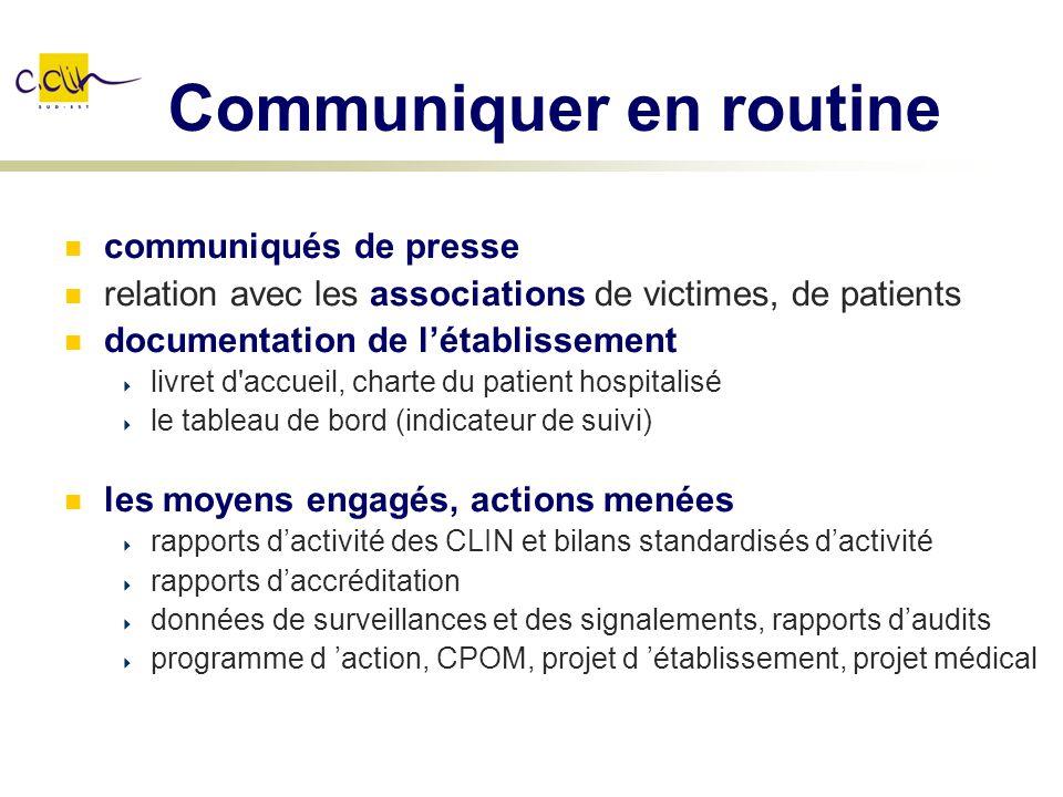 Communiquer en routine communiqués de presse relation avec les associations de victimes, de patients documentation de létablissement livret d'accueil,