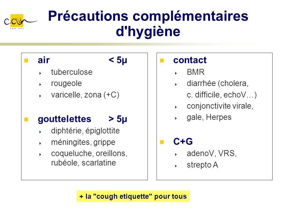 Précautions complémentaires d'hygiène air< 5µ tuberculose rougeole varicelle, zona (+C) gouttelettes > 5µ diphtérie, épiglottite méningites, grippe co