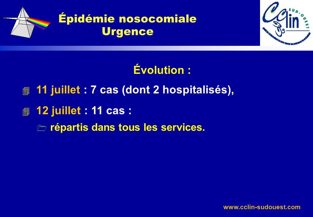 www.cclin-sudouest.com Évolution : 4 11 juillet : 7 cas (dont 2 hospitalisés), 4 12 juillet : 11 cas : 1 répartis dans tous les services. Épidémie nos