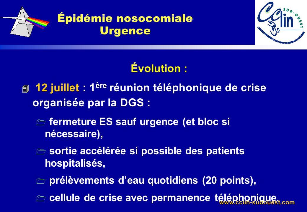 www.cclin-sudouest.com Évolution : 4 12 juillet : 1 ère réunion téléphonique de crise organisée par la DGS : 1 fermeture ES sauf urgence (et bloc si n
