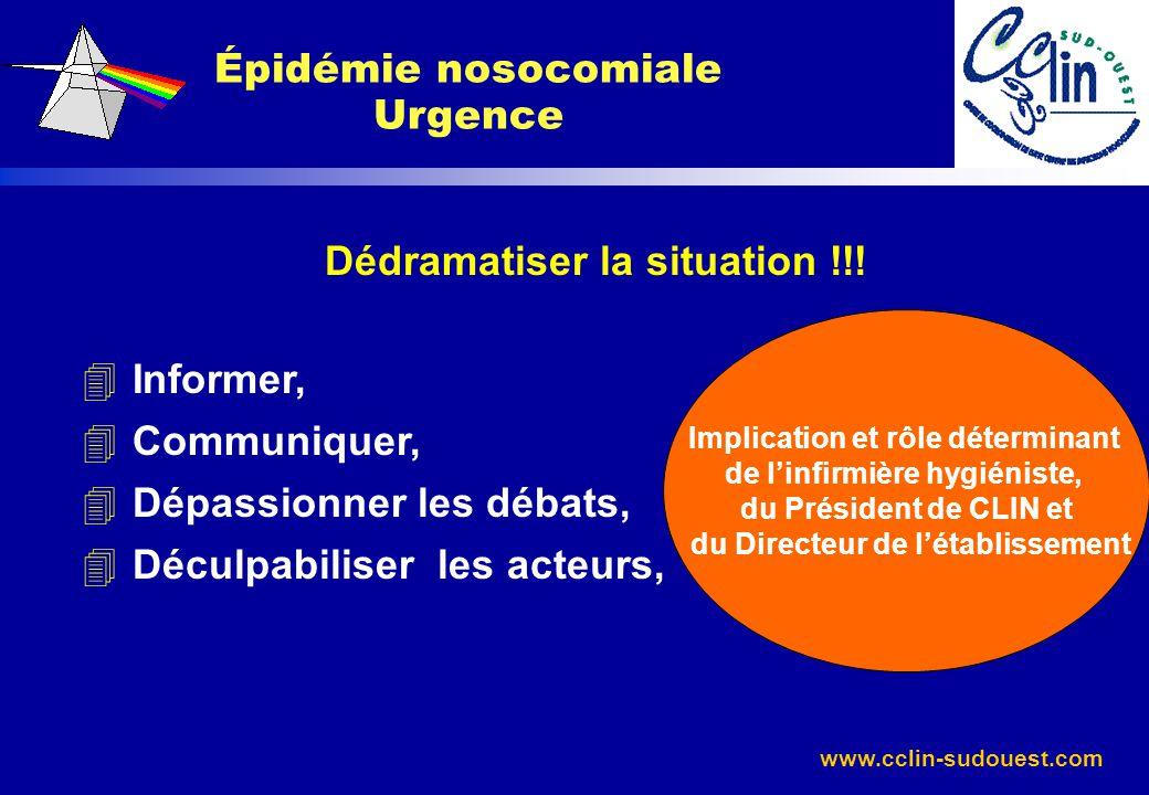 www.cclin-sudouest.com Dédramatiser la situation !!! 4 Informer, 4 Communiquer, 4 Dépassionner les débats, 4 Déculpabiliser les acteurs, Épidémie noso