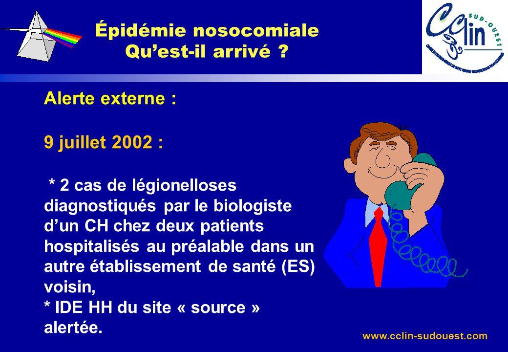 www.cclin-sudouest.com Épidémie nosocomiale Quest-il arrivé ? Alerte externe : 9 juillet 2002 : * 2 cas de légionelloses diagnostiqués par le biologis