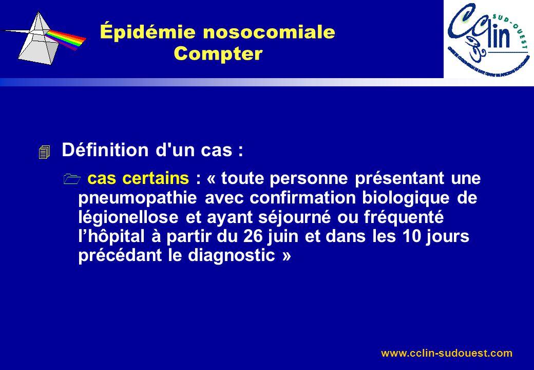 www.cclin-sudouest.com 4 Définition d'un cas : 1 cas certains : « toute personne présentant une pneumopathie avec confirmation biologique de légionell