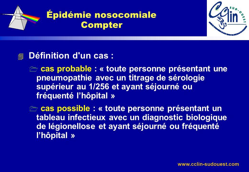 www.cclin-sudouest.com 4 Définition d'un cas : 1 cas probable : « toute personne présentant une pneumopathie avec un titrage de sérologie supérieur au