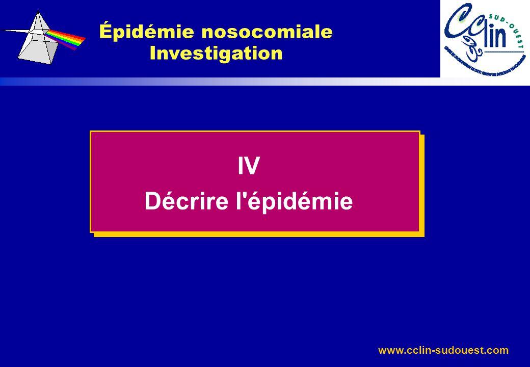 www.cclin-sudouest.com Épidémie nosocomiale Investigation IV Décrire l'épidémie