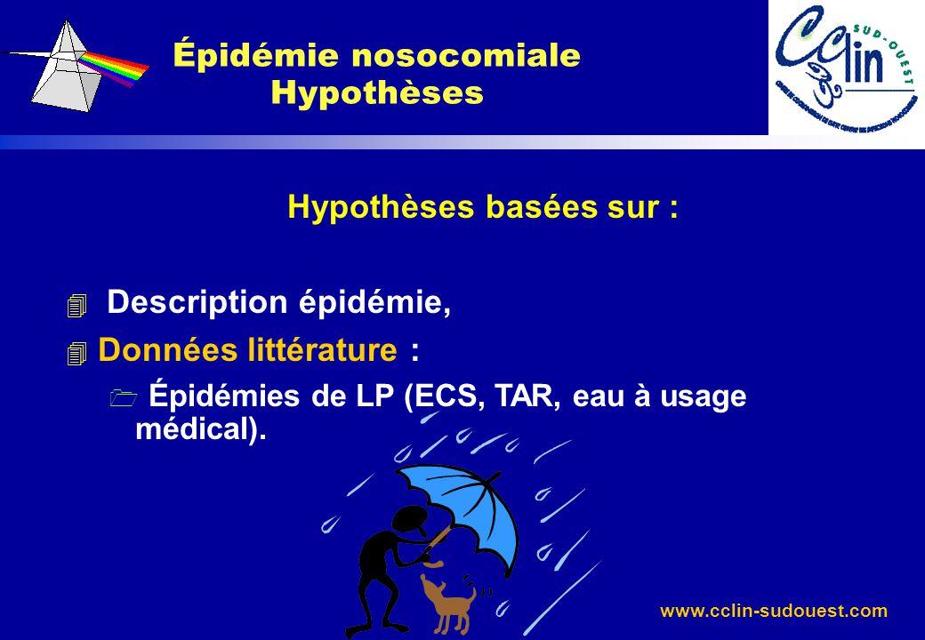 www.cclin-sudouest.com Hypothèses basées sur : 4 Description épidémie, 4 Données littérature : 1 Épidémies de LP (ECS, TAR, eau à usage médical). Épid
