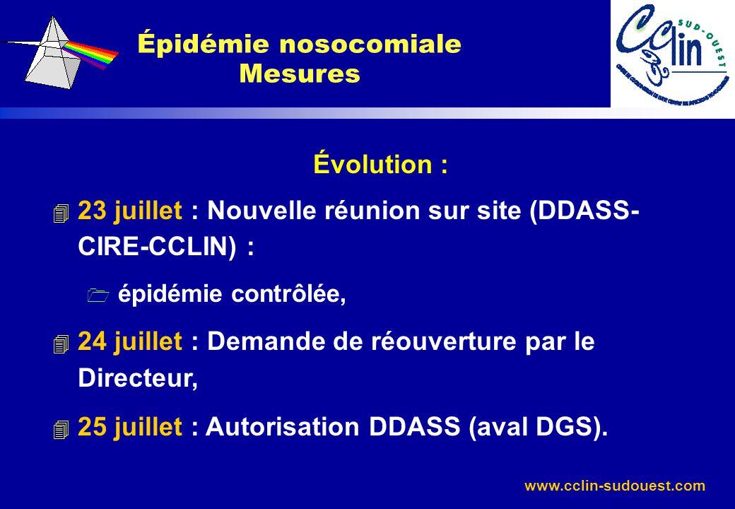 www.cclin-sudouest.com Évolution : 4 23 juillet : Nouvelle réunion sur site (DDASS- CIRE-CCLIN) : 1 épidémie contrôlée, 4 24 juillet : Demande de réou