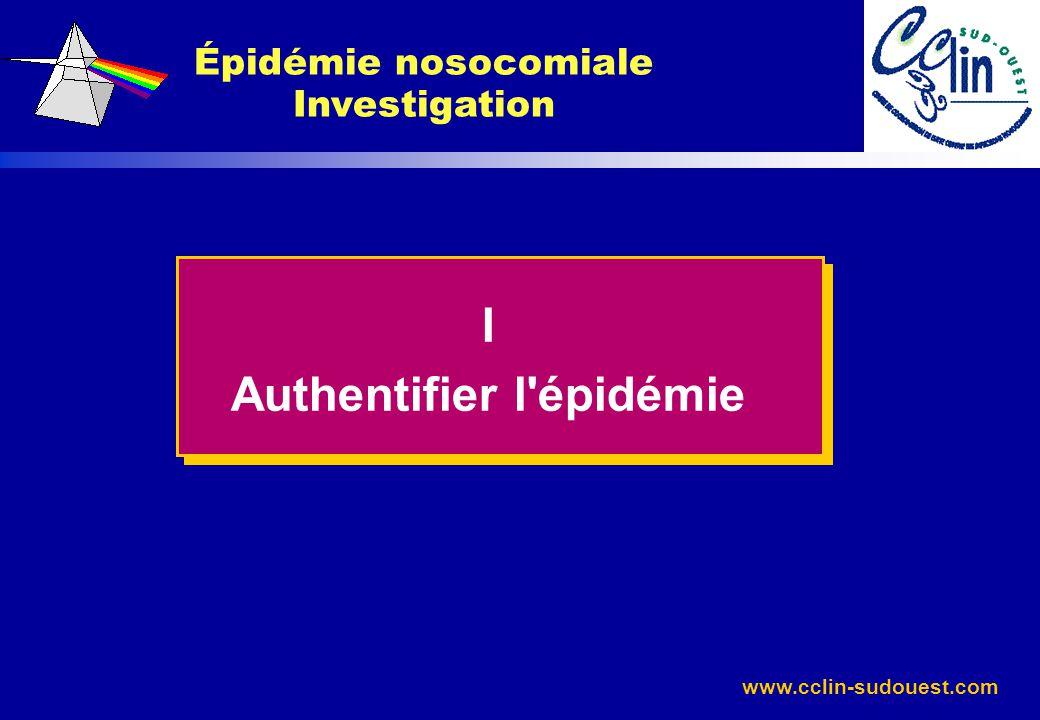 www.cclin-sudouest.com Épidémie nosocomiale Investigation I Authentifier l'épidémie