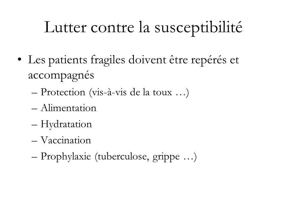Lutter contre la susceptibilité Les patients fragiles doivent être repérés et accompagnés –Protection (vis-à-vis de la toux …) –Alimentation –Hydratat