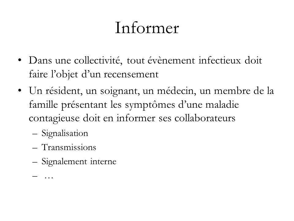 Informer Dans une collectivité, tout évènement infectieux doit faire lobjet dun recensement Un résident, un soignant, un médecin, un membre de la fami