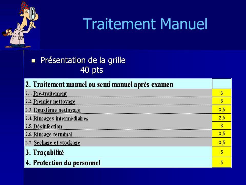 Traitement Manuel Présentation de la grille 40 pts Présentation de la grille 40 pts