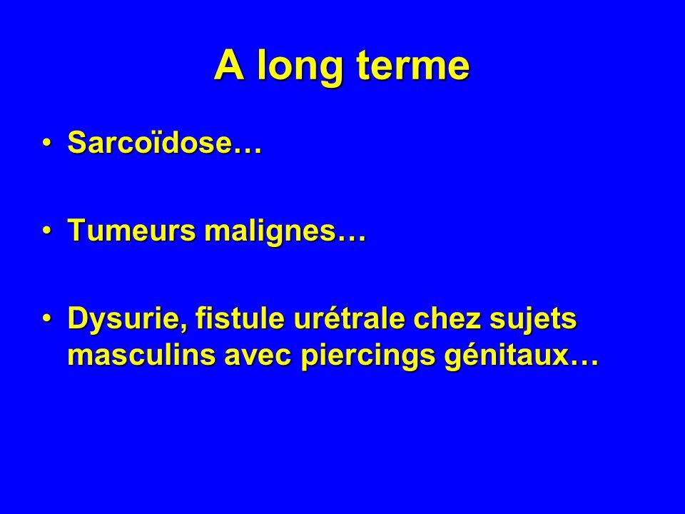 A long terme Sarcoïdose…Sarcoïdose… Tumeurs malignes…Tumeurs malignes… Dysurie, fistule urétrale chez sujets masculins avec piercings génitaux…Dysurie