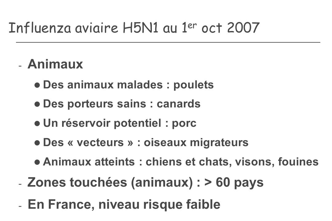 Influenza aviaire H5N1 au 1 er oct 2007 - Animaux Des animaux malades : poulets Des porteurs sains : canards Un réservoir potentiel : porc Des « vecte