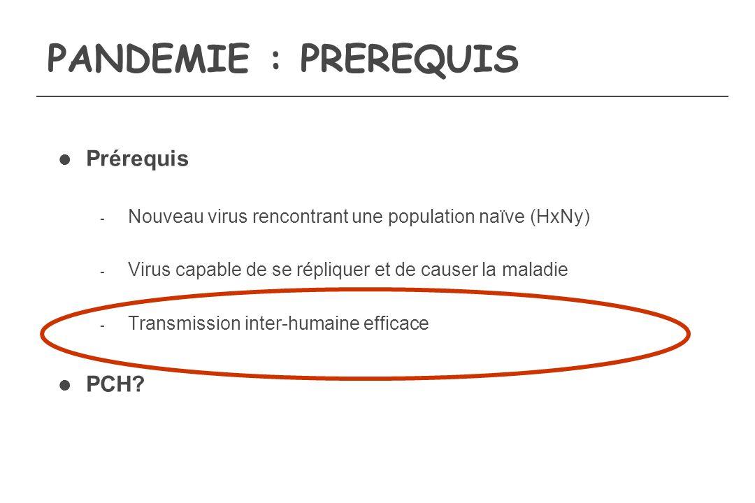 PANDEMIE : PREREQUIS Prérequis - Nouveau virus rencontrant une population naïve (HxNy) - Virus capable de se répliquer et de causer la maladie - Trans