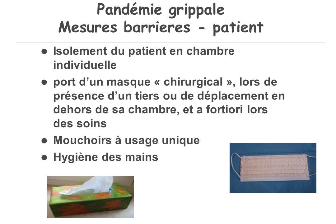 Pandémie grippale Mesures barrieres - patient Isolement du patient en chambre individuelle port dun masque « chirurgical », lors de présence dun tiers