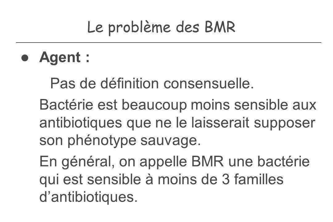 Le problème des BMR Agent : Pas de définition consensuelle. Bactérie est beaucoup moins sensible aux antibiotiques que ne le laisserait supposer son p
