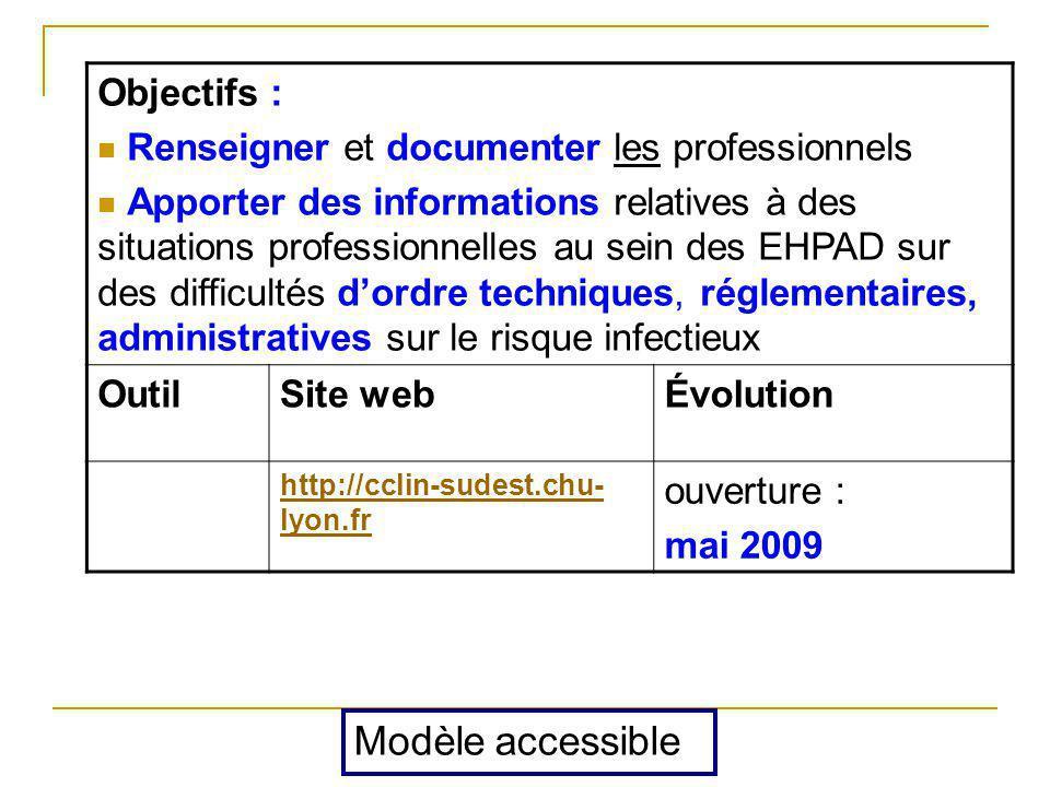 Objectifs : Renseigner et documenter les professionnels Apporter des informations relatives à des situations professionnelles au sein des EHPAD sur de