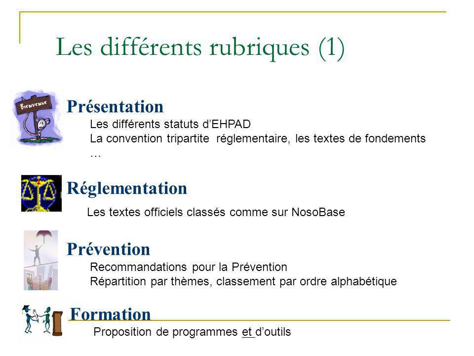 Les différents rubriques (1) Présentation Les différents statuts dEHPAD La convention tripartite réglementaire, les textes de fondements … Réglementat